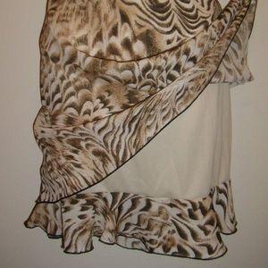 Unique Designed Tan Brown Lined Print Skirt